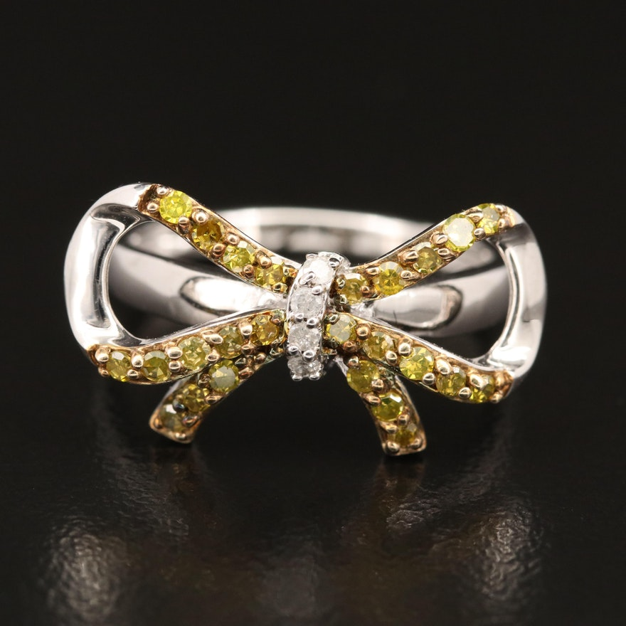 Sterling 0.40 CTW Diamond Bow Ring