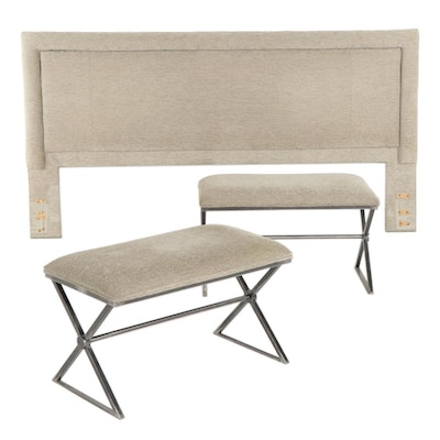 Contemporary King Size Upholstered Headboard with Two Matching Benches