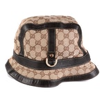 Gucci Bucket Hat in GG Canvas and Brown Leather