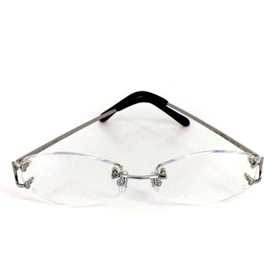 Cartier Rimless Glasses with Iridescent Lenses and Includes Case