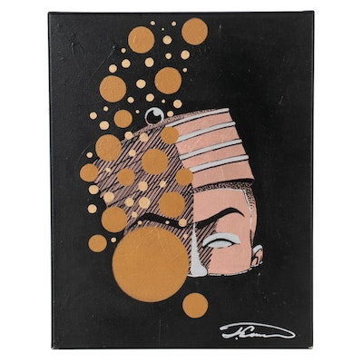 Justin Campbell Abstract Acrylic Portrait, 2020