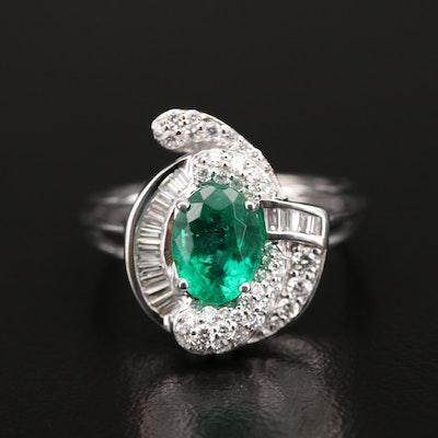18K 1.27 CT Emerald and Diamond Ring