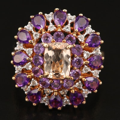Sterling Silver Morganite, Amethyst and Topaz Ring