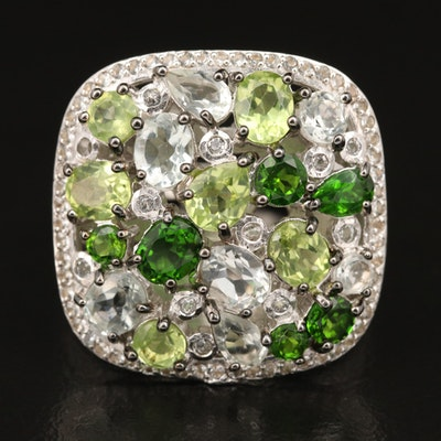 Sterling Silver Ring with Diopside, Peridot and Topaz