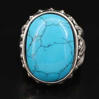 Stainless Steel Faux Turquoise Ring with Twisted Shoulder Detail
