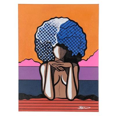 "Justin Campbell Abstract Acrylic Painting ""Mona Jalisa,"" 2020"