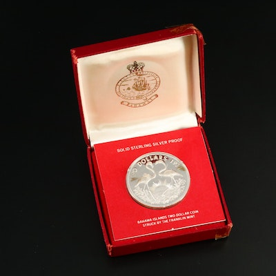Sterling Silver $2 Proof Coin, Bahama Islands, 1971