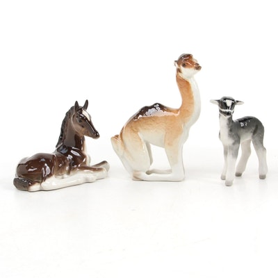 Lomonosov Porcelain Horse Lamb and Camel Ceramic Figurine, Mid to Late 20th C.