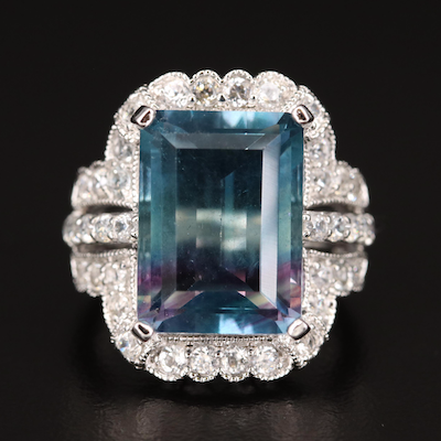 Sterling Silver Fluorite and Zircon Ring