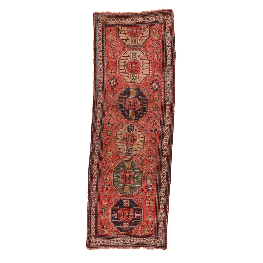 4'7 x 13'4 Hand-Knotted Caucasian Kazak Long Rug, 1900s