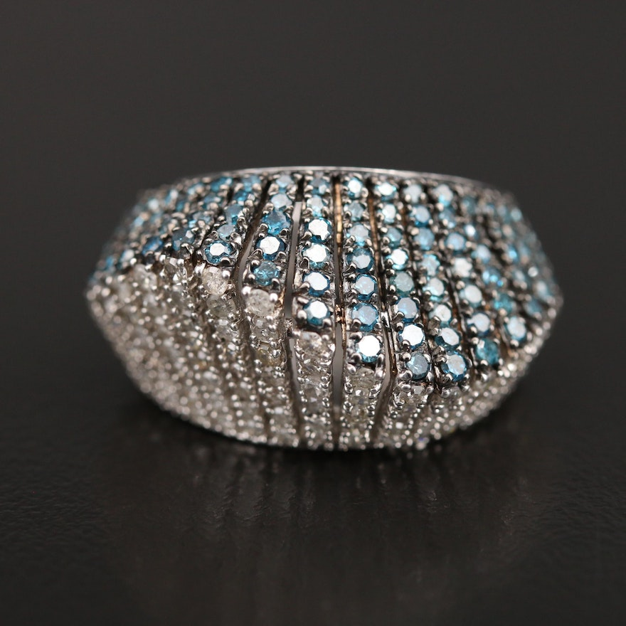 Contemporary Sterling 1.70 CTW Diamond Wave Ring