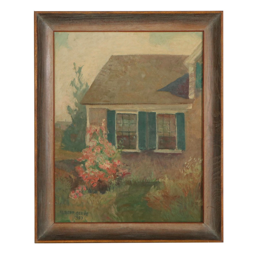 Albert Berne Oil Painting of House, 1937