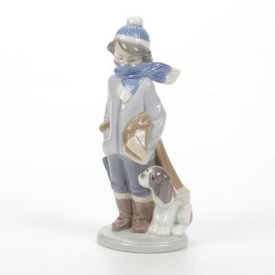 """Lladró """"Winter"""" Porcelain Figurine Designed by Juan Huerta"""
