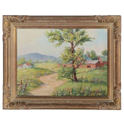 Elizabeth Stevens Street Landscape Oil Painting of Sunny Field