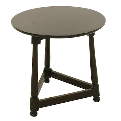 Round Top Tripod Walnut Side Table, Late 20th Century