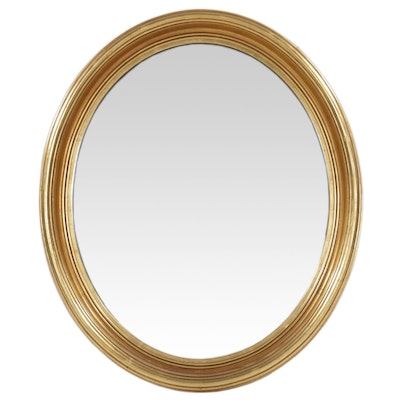 Giltwood Oval Wall Mirror, Mid to Late 20th Century