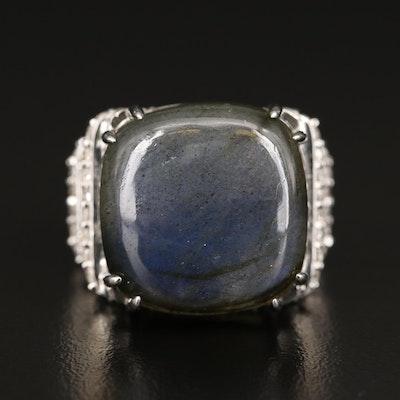 Sterling Silver Labradorite and Zircon Ring