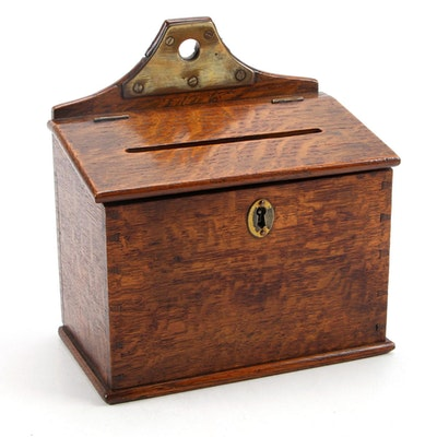 Oak and Brass Letter or  Alms Box with Key, Early 20th Century