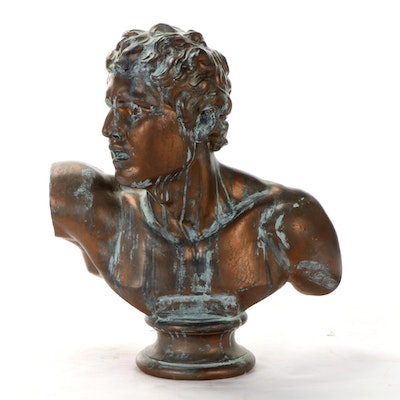 Neo-Classical Style Plaster Bust with Verdigris Finish