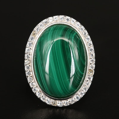 Sterling Silver Malachite and White Zircon Ring