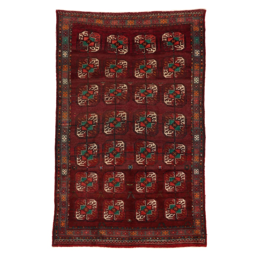 4'11 x 7'9 Hand-Knotted Afghan Turkmen Bokhara Rug, Mid-20th Century