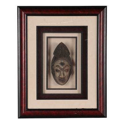 Framed Punu Style Carved Wood Mask, Central Africa