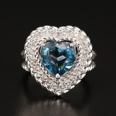 Sterling Silver London Blue Topaz and White Zircon Heart Ring