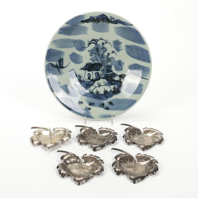 Japanese Style Ceramic Display Plate with Metal Leaf Form Candle Holders
