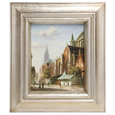 Cityscape Oil Painting after Adrianus Eversen, Circa 2000