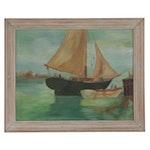 Jean M. Laffleur Oil Painting of Boat Near the Dock, 1945