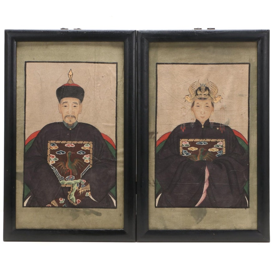 Chinese Style Acrylic Paintings of Ancestral Portraits, circa 2000
