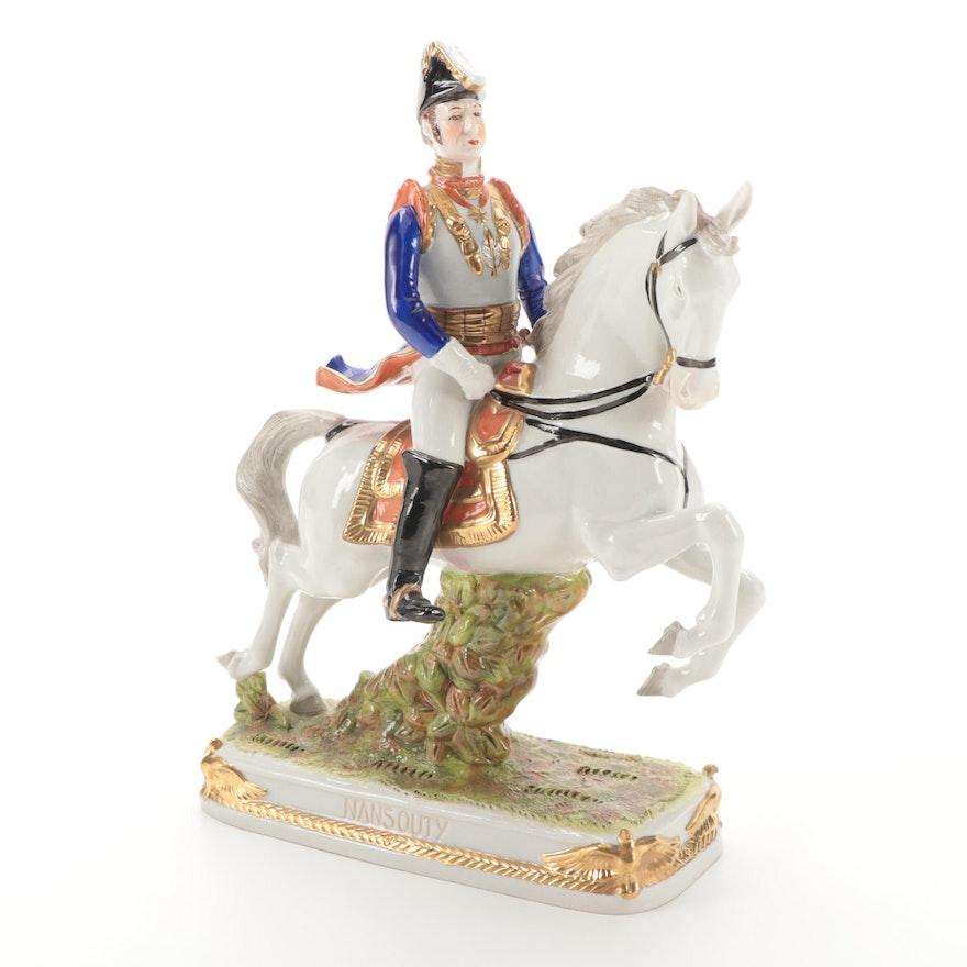 "German Scheibe-Alsbach ""Nansouty"" Mounted Soldier Porcelain Figurine"