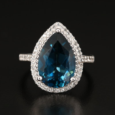 Sterling Silver London Blue and White Topaz Teardrop Ring