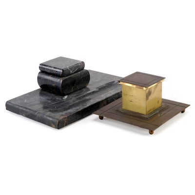 E. G. Zimmerman Hanau Black Marble and Other Brass Desk Inkwell