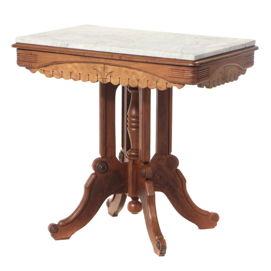 Victorian Walnut, Burl Walnut, Press-Decorated, and White Marble Side Table
