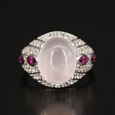 Sterling Rose Quartz, Rhodolite Garnet and White Topaz Ring