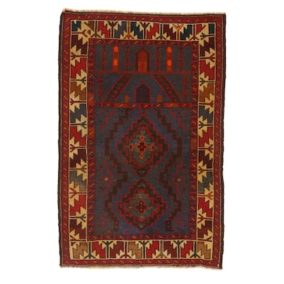 2'11 x 4'6 Hand-Knotted Persian Baluch Rug, 1950s