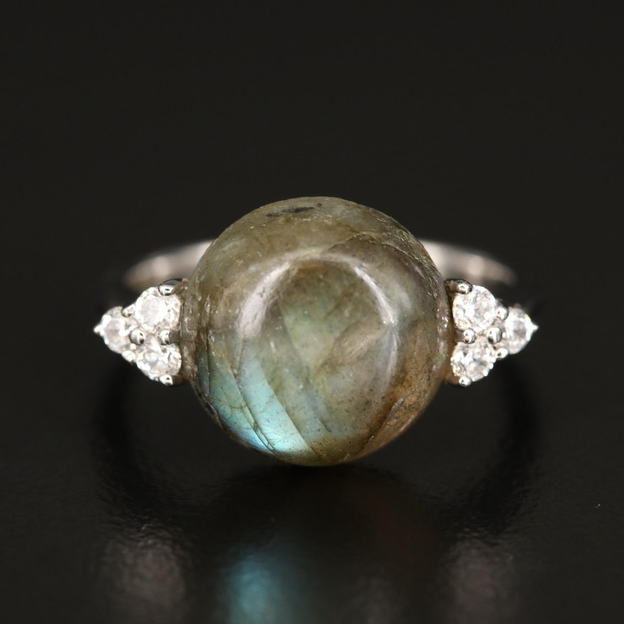 Sterling Labradorite and Cubic Zirconia Ring
