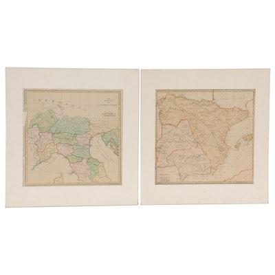 Samuel John Neele Hand-Colored Engraving Maps of Europe, circa 1782
