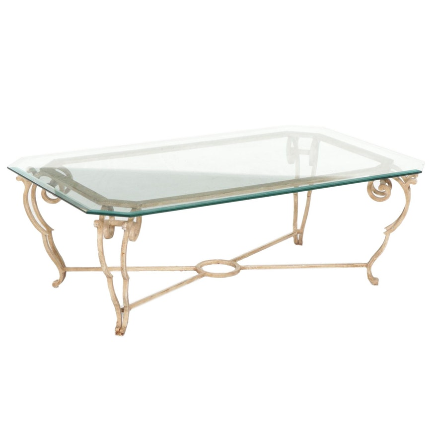 Contemporary Painted Scrolled Metal and Glass Top Coffee Table