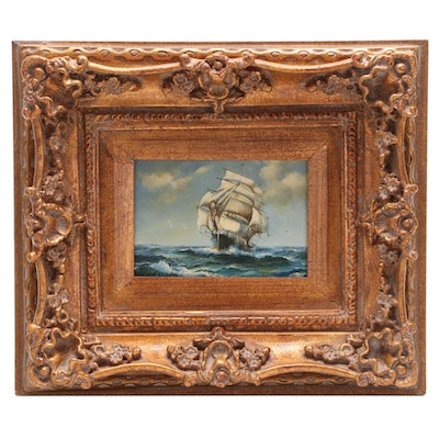 H. Parker Clipper Ship Oil Painting