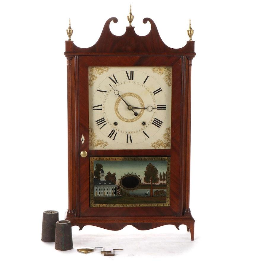 Eli Terry Mahogany Pillar and Scroll Clock, Early 19th Century