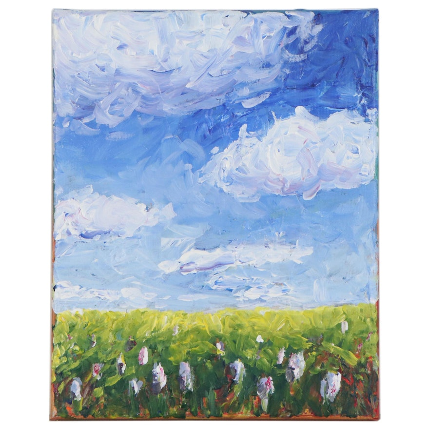 """Mia Wyle Oil Painting """"Flowers in Field,"""" 21st Century"""