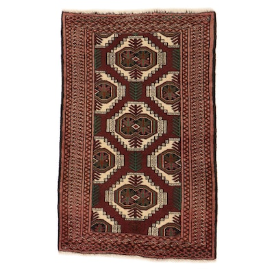 2'7 x 4'1 Hand-Knotted Persian Turkmen Rug, 1970s