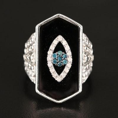 Diamond Evil Eye on Sterling and Black Onyx Ring