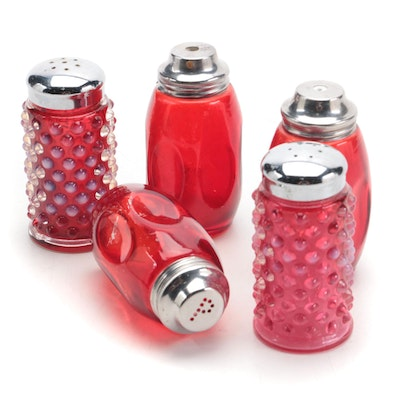 Airko Thumbprint Ruby Glass Shakers with Other Hobnail Glass Shaker Set