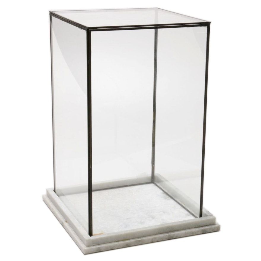 Glass, Metal and Stone Lift-Off Top Display Case