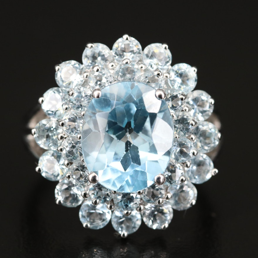 Topaz Ring with Split Shoulders and Double Halo in Sterling