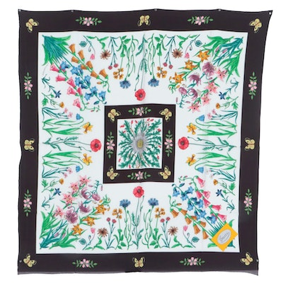 Gucci Silk Twill Scarf in Floral and Butterfly Print Designed by V. Accornero