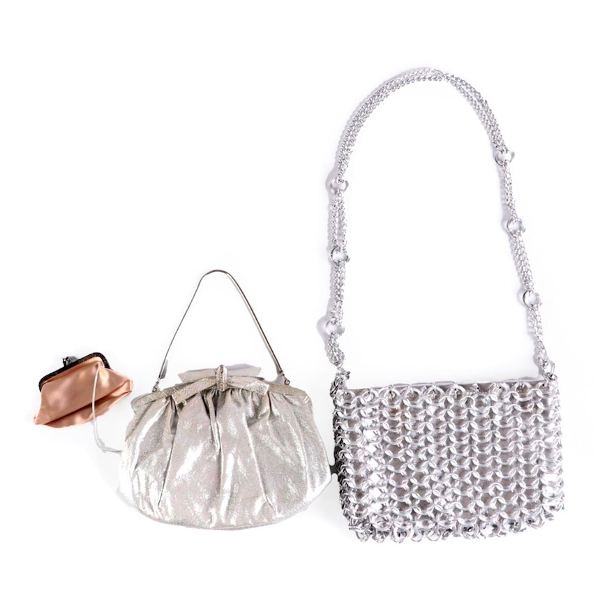 Harry Levine and Walborg Metallic Clutch and Shoulder Bag
